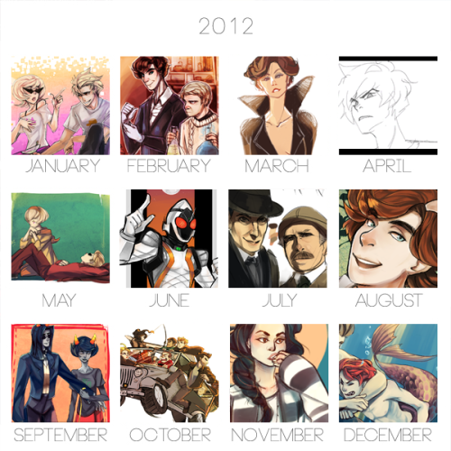 PHEW, 2012 sure was a year. I'm pretty happy with the direction my art's taken, and I'm more confident with animation. This year I wanna work more on environments and speeding up my art process. 2011 Summary for comparison. (but first I've got to finish off those last two commissions…! thank you for your patience <3) Onwards to 2013!!