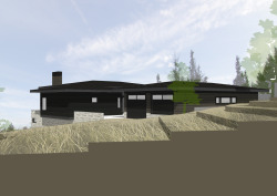 Denali Residence Bend. In Progress. This is a new single-level, 2600 square foot home in the Awbrey Park neighborhood of Bend. Designed to fit into the sloping lot and grab views to the east and north, the home is organized around a central courtyard, which gathers ample natural light for each area of the home. General Contractor: Bright Oak Homes