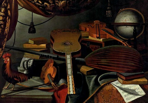 Bartolomeo Bettera Still Life with Musical Instruments, Books, Globe and Rooster 17th century
