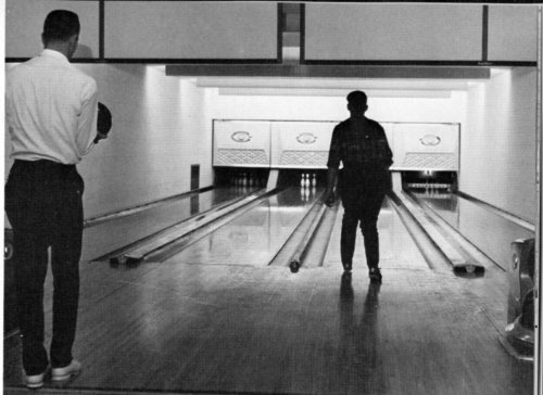 A 1967 Montage image of the old bowling alley that used to be in Farmer Hall.