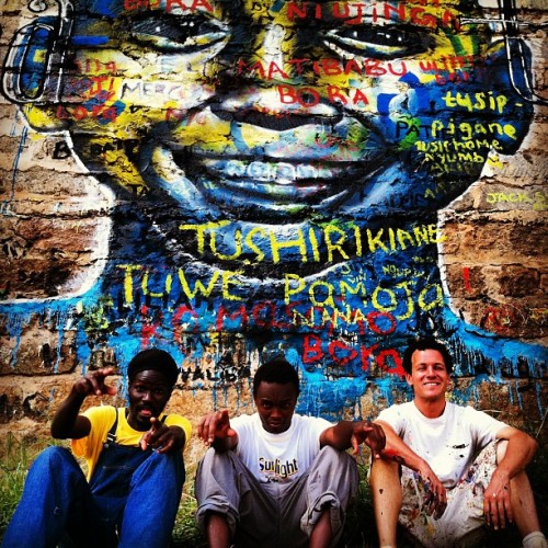 Kibera Walls for Peace youth arts project; Nairobi, Kenya. With my friends N'gesh and Mathew