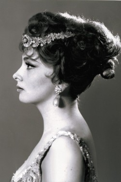 womensweardaily:  Gina Lollobrigida's Jewels Set Record Jewelry once owned by Gina Lollobrigida fetched a combined total of 4.7 million Swiss francs, or $5.1 million, during an auction at Sotheby's Geneva on Tuesday night. For More [above: Gina Lollobrigida wearing a Bulgari necklace and bracelet combination as a tiara with the record-breaking natural pearl and diamond pendant earrings. Courtesy Photo]