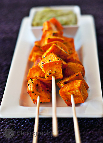 crossfitcandy:  Man these Roasted Sweet Potato Cube Skewers with a Cilantro-Jalapeno Aioli Dip look delicious.  The best part is the dipping sauce which you can use for all kinds of veggies (dip your beet chips and zucchini chips or carrot latkes in them - all recipes on my blog).  The only rub, you've got to make your own mayo if you truly want this recipe to be Paleo ;) RECIPE  #crossfitcandy