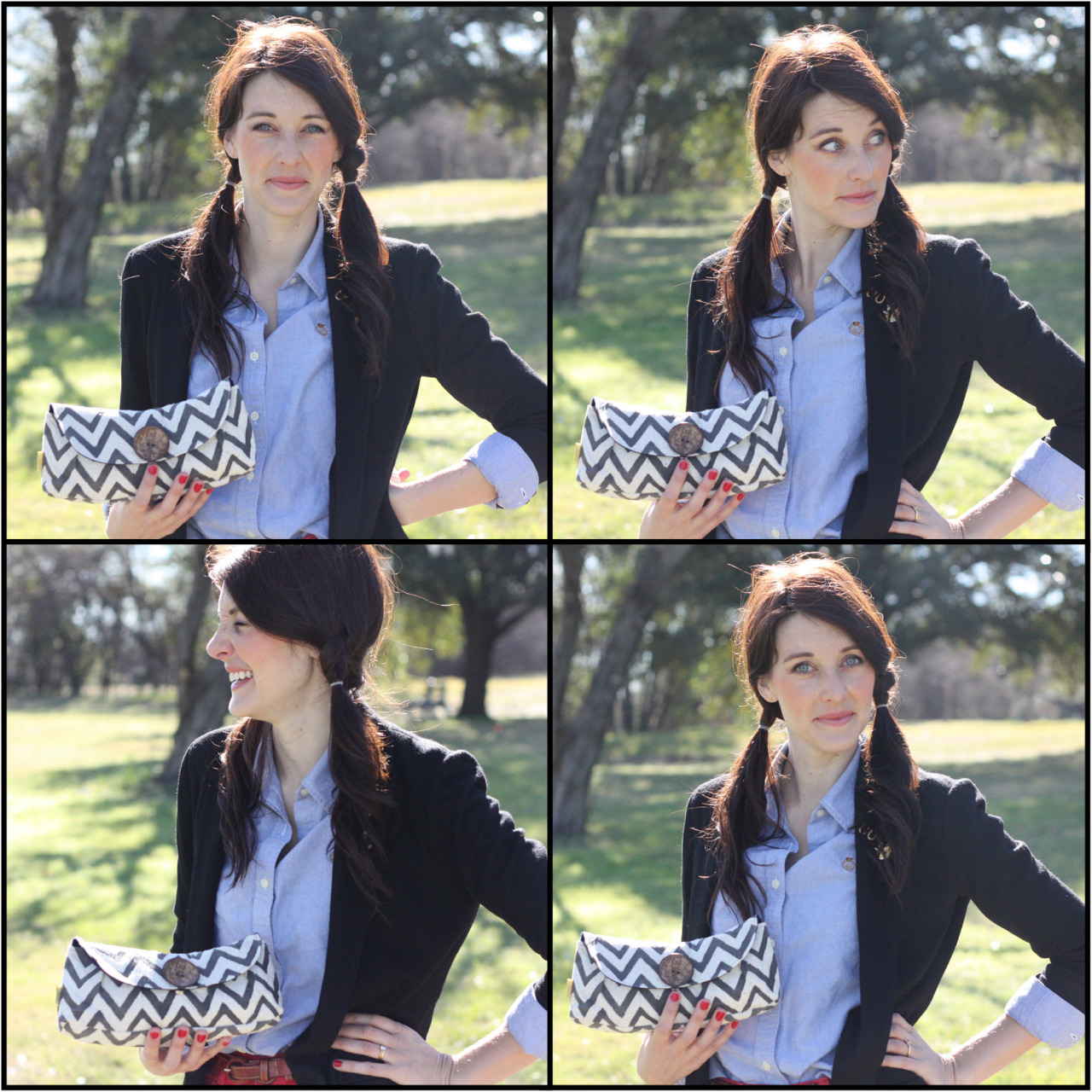 The lovely Chevron Button Clutch in gray is BACK! Get yours while you can! http://www.purseandclutch.com/collections/clutches/products/chevron-button-clutch-1
