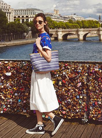 L is for Love-Locked Tory's stripe straw tote takes Paris, via Shopbop.