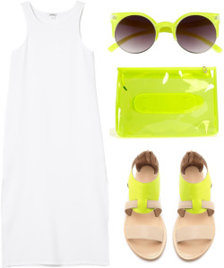thepolyvorecollection:  Neon Summer by erino9519 featuring flat sandals