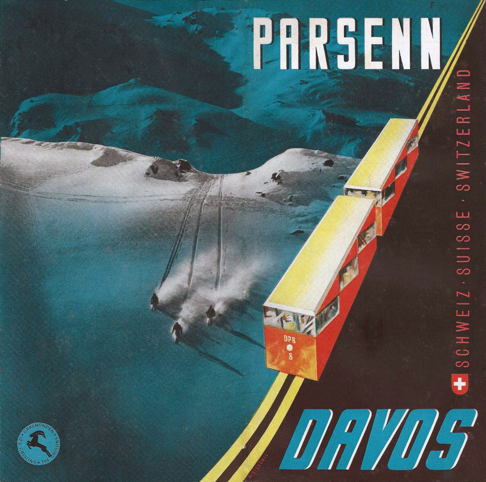 Travel poster for Parsenn, a ski area in Davos, Switzerland.