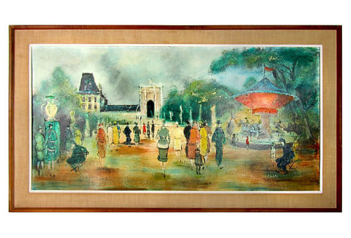 "Large Midcentury painting of a Paris park scene with a carousel and well-dressed figures. Signed ""Blacketer."" Displayed in a wood frame. by Ruby + George on One Kings Lane Vintage and Market Finds"