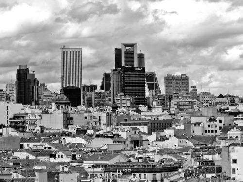 """Penultima"" The district of Chamartin as seen from Circulo de Bellas Artes. Tomorrow, I leave Madrid. It does not make me sad at all because I am going home and I get the chance to dream a new dream (even if ultimately we know that dream involves coming back, hehe) (Madrid, Spain, 2013)"