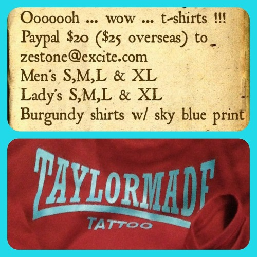 #taylormade #tattoo #tshirts … available now … don't sleep
