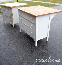 "storagegeek:  Dresser to Island : Traerloves The transformation of dresser to kitchen island is so simple I am having a serious ""DUH!"" moment. Loving thi idea from TRAERLOVES."