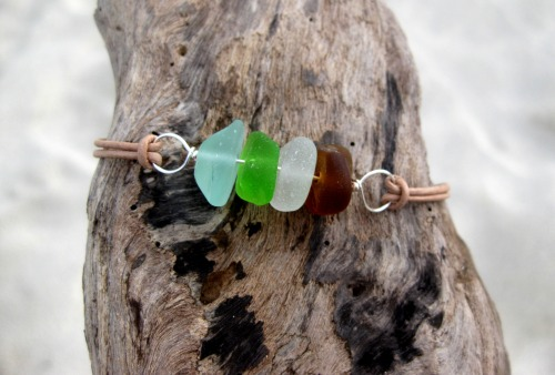Hawaiian Aqua Blue, Lime Green, Amber Brown and Clear Beach Glass Silver Plated Wire Wrapped & India Leather Cord Bracelet Handmade with Aloha!! …Surfer Chic…