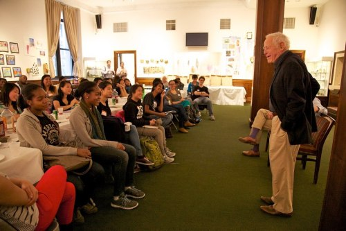 James Salter speaks to high school students at 92Y on Mon, in the Poetry Center's Schools Project. The purple socks are Richard Ford's. Photograph by Nancy Crampton. Read about their readings at 92Y later on in the evening, on Slate and ArtsBeat.