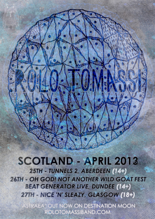 rolotomassi:   Hi Guys. We're coming to Scotland in April for 3 days. 2 headline shows and a fest. Advance tickets for headline shows are only £5! Buy tickets here:Aberdeen TICKETSDundee TICKETSGlasgow TICKETS Tickets for Glasgow go onsale from 7pm tonight.