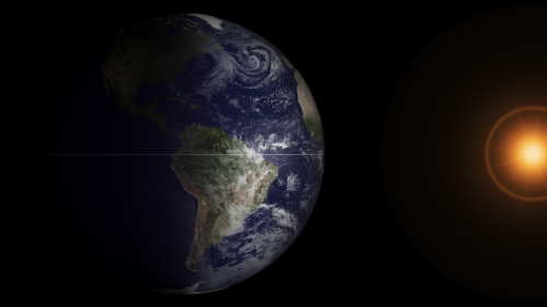 "GOES Satellite Captures Spring Equinox It is that time of year again (it happens twice) when the relative angle of Earth is perpendicular to the Sun, causing equal incoming solar energy to the Northern and Southern hemispheres - as well as equal day and nighttime. At 7:20 ET on March 20, 2013, Earth was at its equinox. At 7:45 ET, the GOES-13 satellite captured this full disk image of Earth. The visible imagery sensor on GOES requires sunlight to ""see"" clouds, and so it provides a useful example of the equinox. In this image the GOES imagery extends to each of the poles since the entire hemisphere is equally lit. After the equinox passes today, the Northern Hemisphere will be more lit than the Southern Hemisphere – causing the seasons.  (Note: the Sun in this image is artificially created, though the GOES spacecraft does have sensors continually monitoring the Sun for solar activity.)  Credit: NOAA"