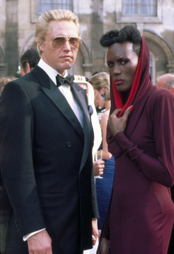 "voxsart:  Bond Villains: Max Zorin and May Day. 1985.  What a ""View to a Kill"""