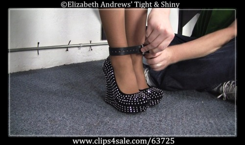 Holly Wood has her ankles strapped tight while wearing studded wedges - Tight and Shiny store - http://www.clips4sale.com/63725/7909813 - Holly Wood - Metallic, Studs, & Leather