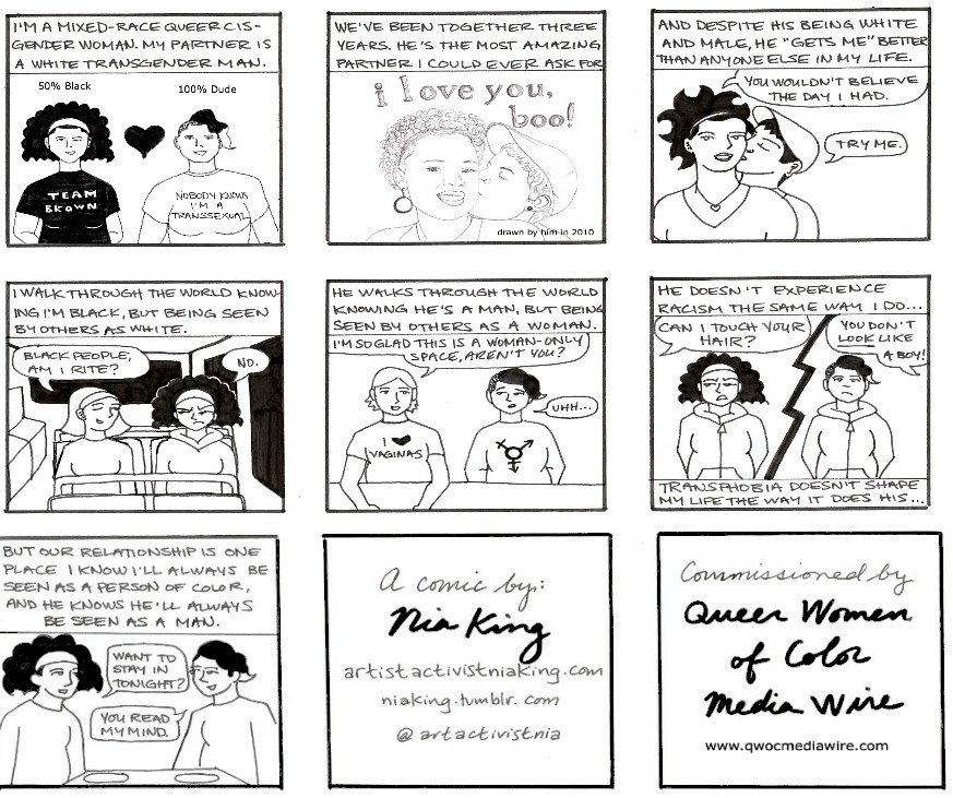 NEW WEB COMIC about queer interracial relationships. I'm a mixed-race queer cisgender woman. My partner is a white transgender man. He seems to 'get me' more than anyone else in my life. Read the full post here