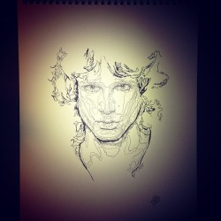 Tonight's work in progress - Jim Morrison #art #thedoors #artist #musician #music #rock #legend #mrmojorisin #doforlove #blues #vocalist #piano #paris #27 #nietzsche #love #instagood #instadaily #instamood #pen  #portrait #ink