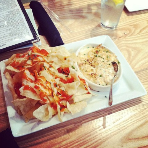 Crab Rangoon Dip @thecowfishsbb // {the five senses} in the Queen City #5senses #taste #cltfood #eatlocal #charlotte #clt #southpark [5.8.13] (at The Cowfish Sushi Burger Bar)