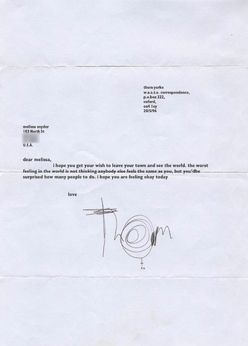 disparu:  Letter from Thom Yorke to a fan, 1996.