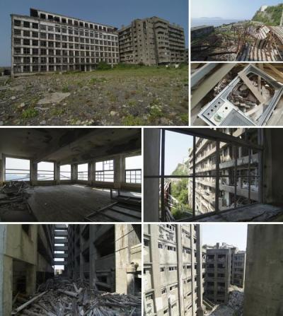 HASHIMA ISLAND, Japan (Abandoned Island) Petroleum replaced coal in Japan during the 1960s and the island's output declined.  Mitsubish closed the mine in 1974 and the 835 people per hectare population abandoned Hashima Island.  Ownership has since been turned over to the city of Nagasaki (15km away) and the island survives as a tourist attraction, although access is limited due to the dangerous condition of the abandoned buildings, some of which have tumbled down.