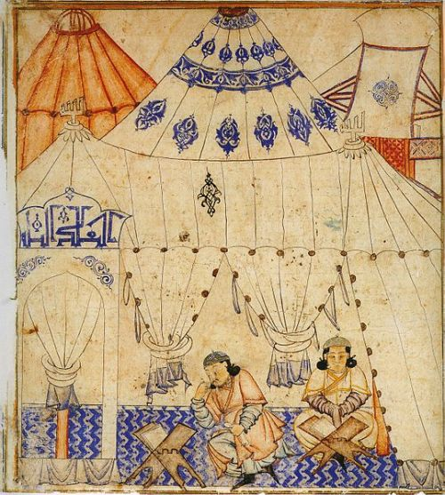 mythologyofblue:  A Mongol prince studying the Koran, 14th century