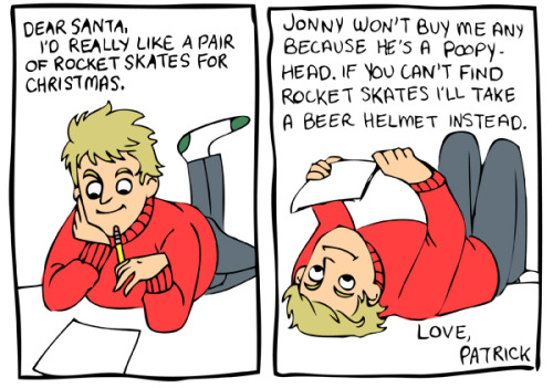 12 Days of Blackhawks Christmas Drawings - Patrick Kane writes to Santa. I've wanted to do one of these for so long.