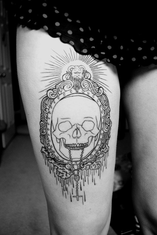 "My art on someone's leg, glad I follow this tattoo blog, or i would never have seen it.  Such a random coincidence that my boyfriend tattooed my drawing that some girl brought in not knowing either of us. Since she didn't purchase a print or support my work/art, chris was kind enough to share some of the money he made from tattooing my illustration.   Since i am a starving artist and apprentice, that meant the world.   ""fuckyeahtattoos: done by the amazing chris anthon at thrive studios in cambridge , ontario . going to get it shaded on march 5th , can't wait !"""