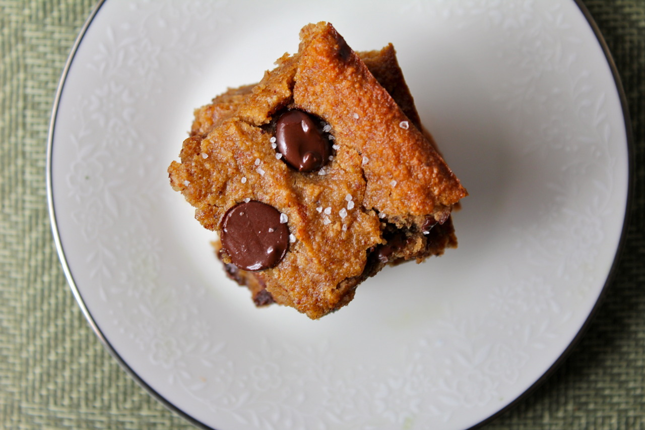 Almond Butter Chocolate Chip Banana Blondies with Sea Salt