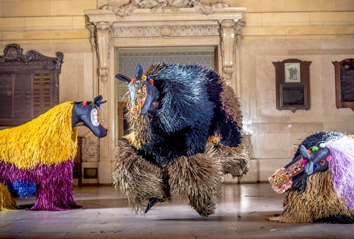 "Jump for joy! Nick Cave's HEARD•NY starts Monday in Grand Central Terminal.  Need-to-Know Tips: •  March 25–31 (Mon-Sun): 30 dazzling horse Soundsuits are on display in GCT's Vanderbilt Hall all day, every day. Map of GCT showing Vanderbilt Hall.  • 11am & 2pm daily: The Soundsuits will come to life, activated by 60 dancers from The Ailey School for ""crossings"" accompanied by harp and drums. • 3:30pm daily: Free public tours of HEARD•NY meet in Vanderbilt Hall. No RSVP needed. More Info (Photo by Travis Magee for Creative Time)"