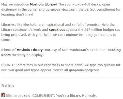 I get very indignant when libraries make mistakes, but I appreciate the update. Also, FIRST!!1!