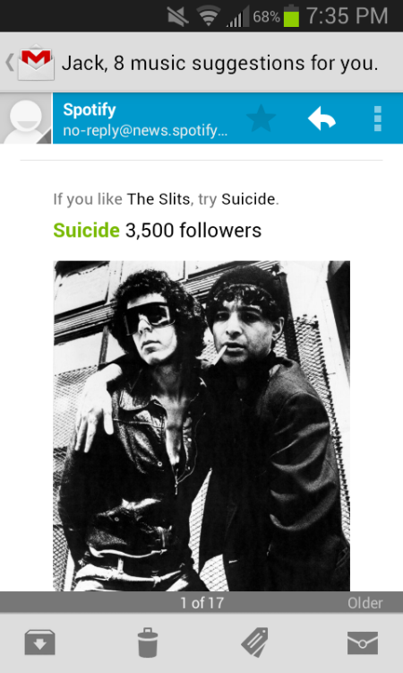 """If you like the Slits, try Suicide."" Wow, now that's a suggestion."