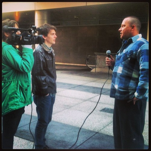 Interview in downtown LA by the Staples Center!