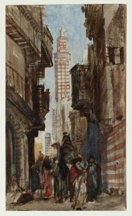 Street in a Near Eastern Town by William James Müller (1812‑1845), 1838, graphite and watercolour on paper, 24,7 x 14,5 cm, Tate Gallery, London  Müller was one of the first British artists to go to Egypt, travelling there in 1838–9. He wrote that 'of all the spots I had ever seen for the artist' this sort of street scene 'would prove the most fertile for his pencil'.  The Islamic world had long fascinated Western audiences, though they had generally been satisfied with recycled fantasies. Müller's sketch represents a new, eye-witness approach. By the late 1830s biblical archaeology, and an escalation of European diplomatic and military activity in the area, fuelled demand for more convincing documentary images of the Middle East.   (www.tate.org.uk)