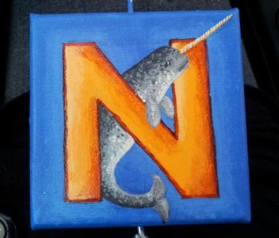 The 2nd of 7  A collection of 4x4 canvases for Mr. Anthony a friends nefew on his 1st birthday  By: Natasha Tentes