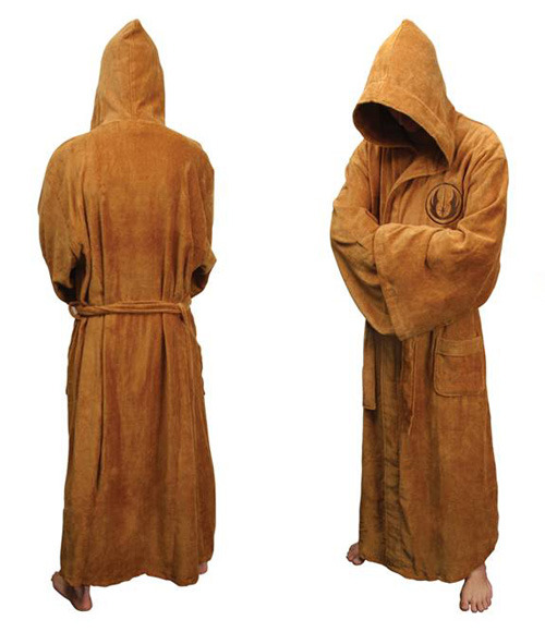 tiefighters:  Star Wars Jedi Bath Robe The Jedi bath robe is made of soft 100% cotton velour and has a Jedi logo embroidered on the front. The bath robe's large hood, sash belt and wide sleeves are classic features of a Jedi robe.  List Price: $84.99  On Sale for $55.92 @Amazon (via:gamefreaksnz)