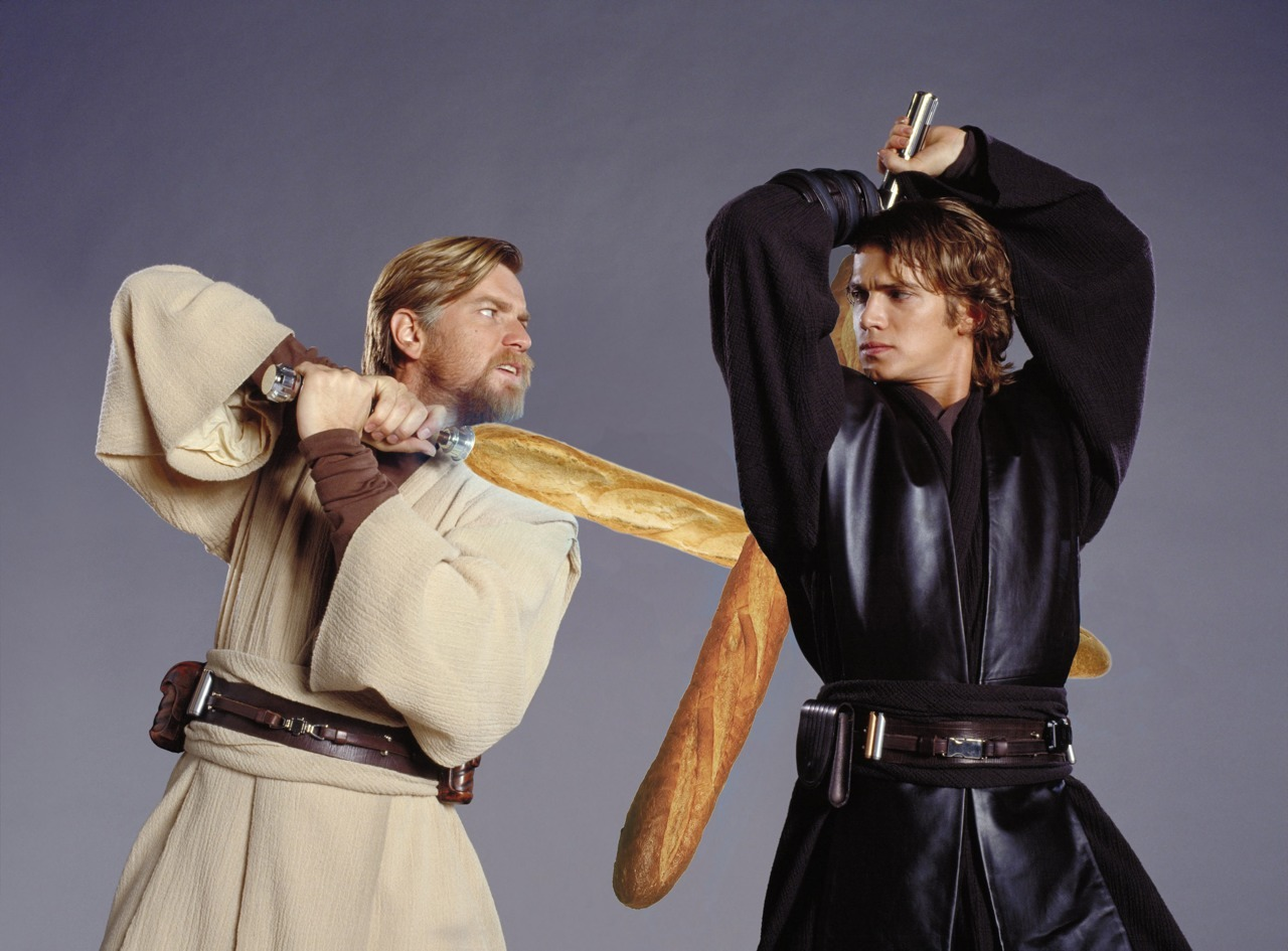 In this sexually charged moment between master and padwan Obi Wan and Anakin skywalker clash crusty bread sabres - crumbs are sure to fly!