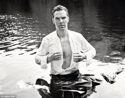 cumbertrekky:  Those at YOU HQ who were still sitting on the Benedict Cumberbatch fence practically flung themselves over it on seeing this vision in a wet shirt. BC found his inner Darcy for a shoot with Jason Bell (he of cute Prince George photo fame), who was commissioned by TK Maxx to shoot a variety of famous faces, including Liam Neeson, Kate Winslet and Jerry Hall, to celebrate ten years of its Give Up Clothes For Good campaign, which has raised more than £17 million for Cancer Research. Bell's photographs will be exhibited at La Galleria on Pall Mall, London, from Tuesday until Saturday.tkmaxx.com.Read more:http://www.dailymail.co.uk/home/you/article-2753521/Front-Row-Whats-hot-happening-week.html#ixzz3DEyqxjqK
