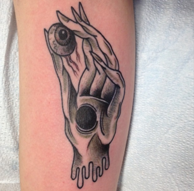 My Pale Man-esque hand/eye, right after it was finished.  Done by Tara at New Tribe Tattoos and Piercings in Toronto. (Photo by @tarazeptattoos)
