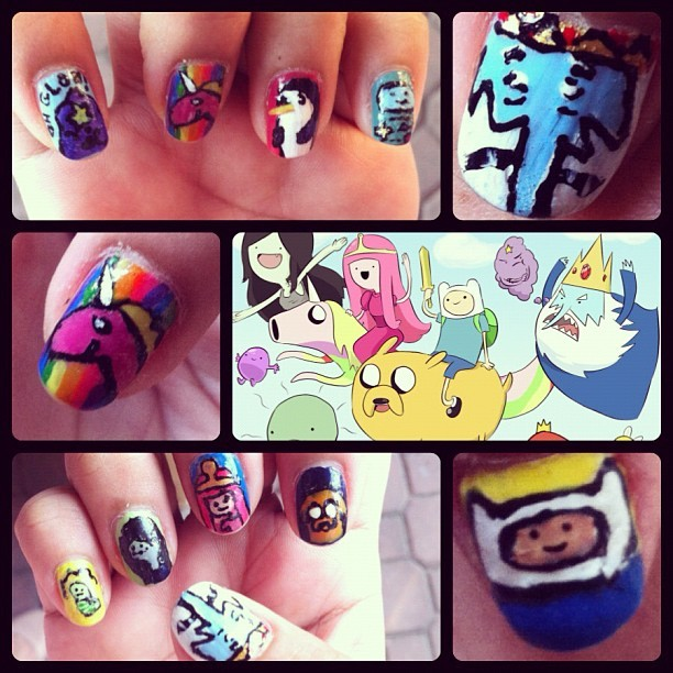 A collage of my Adventure Time nail art! #nailart #nails #adventuretime #mushroomkaboom
