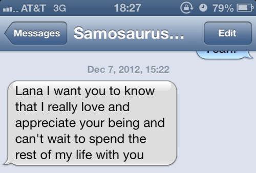 Completely random text I received from Sam while I was at work.