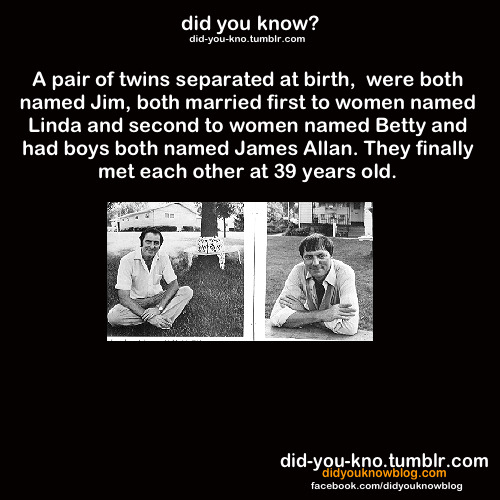 "did-you-kno:  Source   I wonder if they knew they were twins before they met up (through am intermediary, perhaps) or if they just went ""dude! You're me!"""