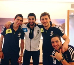 oneikercasillas:   Iker Casillas with Angel Di Maria, Raul Albiol and Gonzalo Higuain in Valencia Via Iker's Facebook