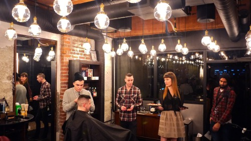 Bourbon & Barbers x Killjoy Barbers x Donnelly Group x Yaletown.  One of many beard themed cocktails was the old fashioned like No. 5 Garrison featuring Canadian Club spiced whiskey, brown sugar, bitters, orange peel, and a special handcrafted ice ball. I found the novelty and utility of Killjoy's barber shop storefront, cocktail bar back, and basement club surprisingly appealing.