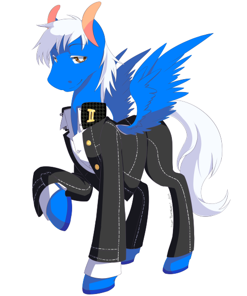 A commission of my OC Pony dressed in a Yasogami High uniform by Silent Ponytagonist Ya'll should request a commission if you have the money, as you can see it's worth it /)^3^(\