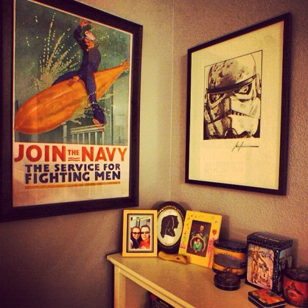 Home sweet home! Everyone has a poster of a sailor riding a torpedo, right? #starwars #usn #sailor #propaganda #vintagestarwarstins