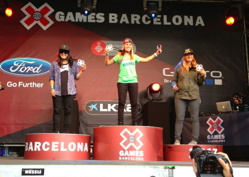 Hana Beaman on the podium at X Games Barcelona 2013.
