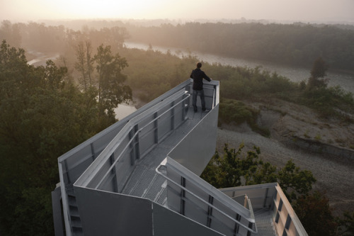 letsbuildahome-fr:  Observation Tower on the River Mur designed by terrain:loenhart&mayr   Cool!