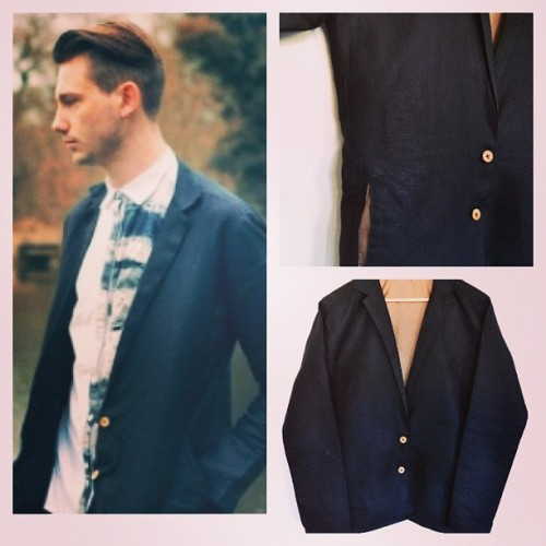 Black linen jacket/blazer exclusive to our etsy store!  Www.etsy.com/uk/shop/ironandpin